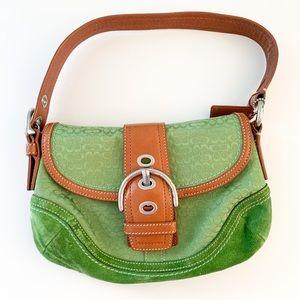 "Coach handbag: green suede, brown leather, 10x6"""